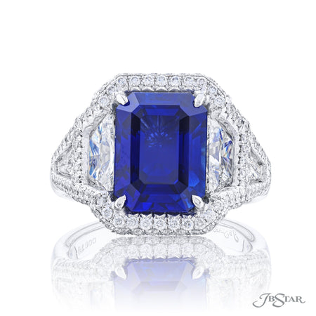 7140-005 | Sapphire & Diamond Ring 6.15 ct. Emerald-Cut Micro Pave Front View