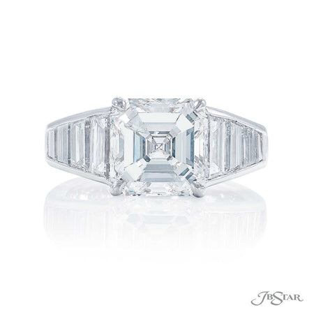 3.69 ct Platinum Emerald Cut Diamond Engagement Ring