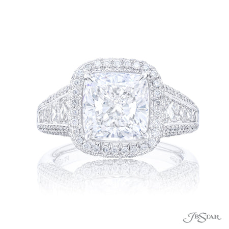 Platinum 4.03 ct Cushion Cut Diamond Engagement Ring in Micro Pave Setting 7154-004