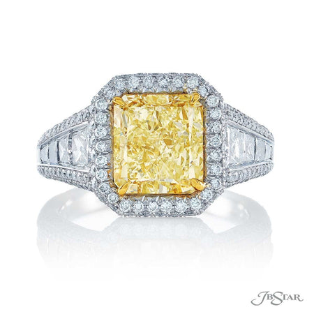 3.23 ct Radiant Cut Fancy Yellow Diamond Engagement Ring in Platinum and 18K Yellow Gold Micro Pave Setting 7154-005