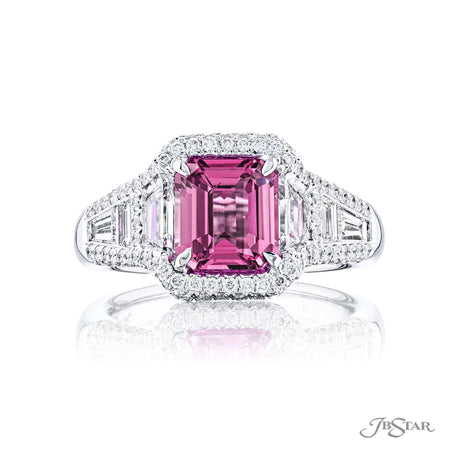 Dazzling pink sapphire and round diamond ring featuring a 2.37 ct. emerald-cut pink sapphire center embraced by trapezoid diamonds in a pave setting. Handcrafted in pure platinum. [details] Center Stone(s) SHAPE TYPE WEIGHT Emerald Pink Sapphire 2.37 ct. Stone Information SHAPE TYPE WEIGHT Trapezoid Diamond 0.66 ctw. Round Diamond 0.55 ctw. [enddetails] | JB Star 7157-002 Precious Color Rings