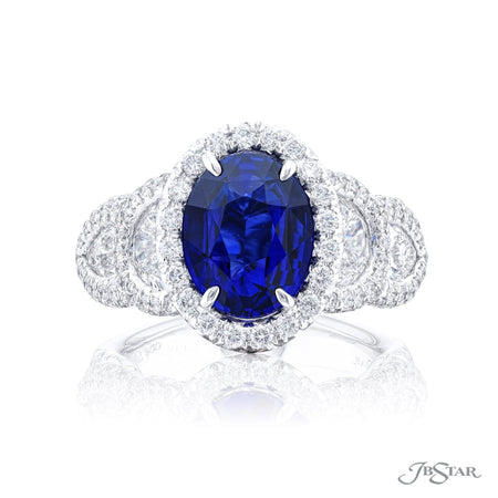 7170-008 | Sapphire & Diamond Ring 3.69 ct. Oval Cut Certified Front View