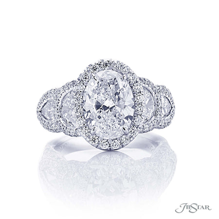3.01 ct Platinum Oval Diamond Half Moon Engagement Ring