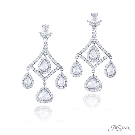 Exquisite chandelier earrings meticulously crafted in pure platinum feature 8 rose cut diamonds with pave edging, suspended by pear-shape, marquise and round diamonds. [details] Stone Information SHAPE TYPE WEIGHT Marquise Pear Round Trillion Diamond Diamond Diamond Diamond 0.42 ct. 4.31 ct. 2.82 ct. 2.31 ct. [enddetails] | JB Star 7175-002 Earrings