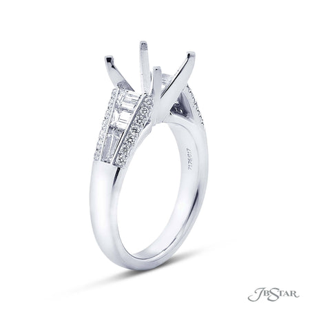 Gorgeous diamond semi mount featuring trapezoid and tapered baguettes embraced by micro pave. Handcrafted in pure platinum. [details] Stone Information SHAPE TYPE WEIGHT Trapezoid Diamond 0.60 ctw. Tapered Baguette Diamond 0.37 ctw. Round Diamond 0.26 ctw. [enddetails] | JB Star 7176-017 Semi Mount Settings