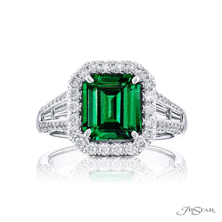 7176-020 | Emerald & Diamond Ring 2.80 ct. Cushion-Cut CDC Certified Front View