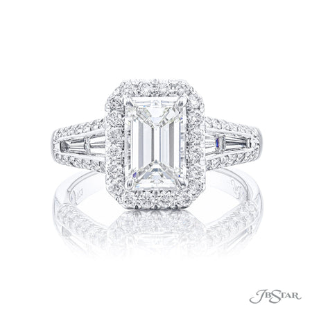 7176-023 | Diamond Engagement Ring 1.70 ct. Emerald Cut GIA certified Front View