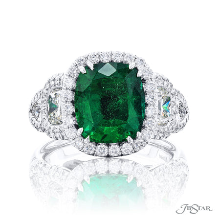 7181-004 | Emerald & Diamond Ring 4.07 ct. Shield & Cushion-Cut Front View