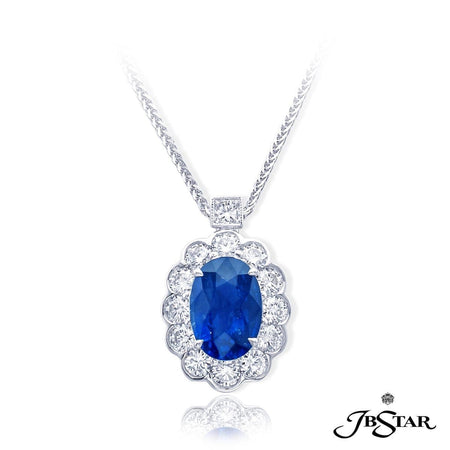 Gorgeous sapphire and diamond pendant featuring a 3.16 ct. oval sapphire center encircled with round diamonds. Handcrafted in pure platinum. [details] Center Stone(s) SHAPE TYPE WEIGHT Oval Sapphire 3.16 ct. Stone Information SHAPE TYPE WEIGHT Round Princess Diamond Diamond 1.12 ctw. 0.10 ctw. [enddetails] | JB Star 7195-002 Pendants