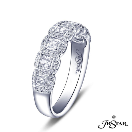Stunning diamond wedding band featuring 7 square emerald-cut diamonds bezel-set with micro pave setting. Handcrafted in platinum. [details] Stone Information SHAPE TYPE WEIGHT Round Square Emerald Diamond Diamond 0.22 ct. 0.80 ct. [enddetails] | JB Star 7201-012 Anniversary & Wedding