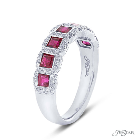 Stunning ruby and diamond band featuring 7 perfectly matched square emerald cut rubies, bezel-set and edged in round diamond micro pave. Handcrafted in pure platinum. [details] Stone Information SHAPE TYPE WEIGHT Square Emerald Round Ruby Diamond 1.00 ctw. 0.20 ctw. [enddetails] | JB Star 7201-017 Anniversary & Wedding