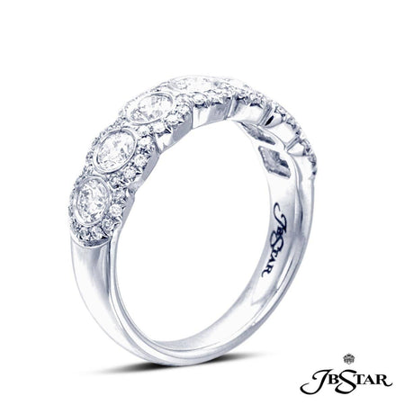 Dazzling diamond band handcrafted with 7 perfectly matched round diamonds in a bezel setting edged in micro pave. Handcrafted in pure platinum. [details] Stone Information SHAPE TYPE WEIGHT Round Diamond 0.95 ctw. [enddetails] | JB Star 7203-001 Anniversary & Wedding