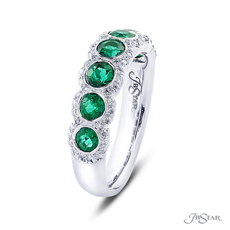 Beautiful emerald and diamond band featuring 7 round emeralds in micro pave setting. Handcrafted in pure platinum. [details] Stone Information SHAPE TYPE WEIGHT Round Emerald 1.08 ctw. Round Diamond 0.25 ctw. [enddetails] | JB Star 7203-019 Anniversary & Wedding