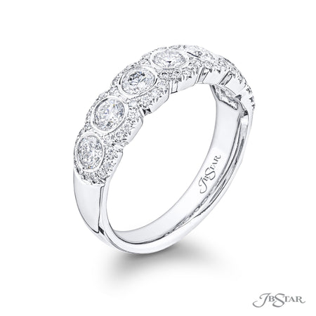 7203-034 | Round Diamond Wedding Band Bezel-set micro pave 0.77 ctw. Side View