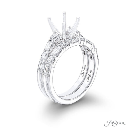 Gorgeous diamond wedding set featuring alternating emerald-cut and round diamonds in a shared prong setting. Handcrafted in pure platinum. [details] Stone Information SHAPE TYPE WEIGHT Emerald Diamond Varies Round Diamond Varies [enddetails] | JB Star 7214 Semi Mount Settings