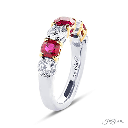 Stunning ruby and diamond wedding band featuring 3 cushion cut rubies and 4 round diamonds in an alternating shared prong design. Handcrafted in pure platinum and 18KY gold. [details] Stone Information SHAPE TYPE WEIGHT Cushion Ruby 1.47 ctw. Round Diamond 1.30 ctw. [enddetails] | JB Star 7215-005 Anniversary & Wedding