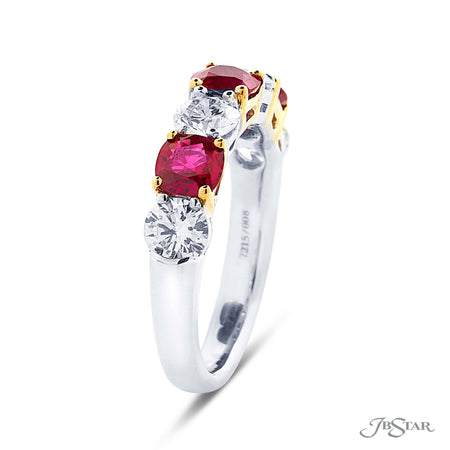 Dazzling ruby and diamond wedding band featuring 3 cushion cut rubies and 4 round diamonds in a shared prong setting. Handcrafted in pure platinum and 18KY gold. [details] Stone Information SHAPE TYPE WEIGHT Cushion Ruby 1.32 ctw. Round Diamond 1.28 ctw. [enddetails] | JB Star 7215-008 Anniversary & Wedding