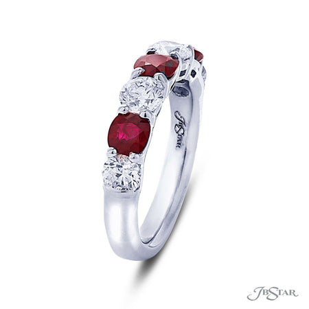 Gorgeous ruby and diamond band featuring 4 round diamonds and 3 cushion-cut rubies in an alternating design. Handcrafted in pure platinum. [details] Stone Information SHAPE TYPE WEIGHT Cushion Round Ruby Diamond 1.15 ctw. 1.20 ctw. [enddetails] | JB Star 7215-018 Anniversary & Wedding