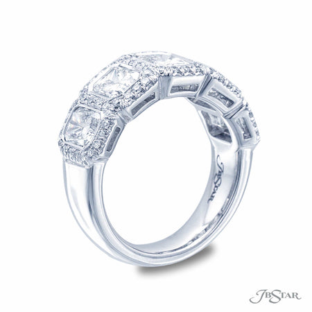 Beautiful diamond wedding band featuring 5 graduating radiant cut diamonds in a micro pave bezel setting. Handcrafted in pure platinum. [details] Stone Information SHAPE TYPE WEIGHT Radiant Round Diamond Diamond 3.09 ctw. 0.44 ctw. [enddetails] | JB Star 7219-001 Anniversary & Wedding