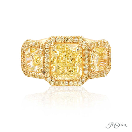 3 Stone Radiant Cut Fancy Yellow Diamond Engagement Ring in 18K Yellow Gold Micro Pave Setting 7221-001