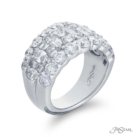 7227-001 | Diamond Wedding Band 4.01 ctw. 3 Row Round & Marquise Side View