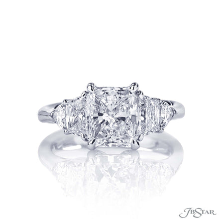 Platinum 2.01 ct Radiant Cut Diamond Engagement Ring with Trapezoid and Shield Diamond Sides 7232-001