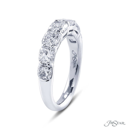 Beautiful diamond wedding band featuring 7 cushion cut diamonds in a shared prong setting. Handcrafted in pure platinum. [details] Stone Information SHAPE TYPE WEIGHT Cushion Diamond 2.53 ctw. [enddetails] | JB Star 7233-008 Anniversary & Wedding