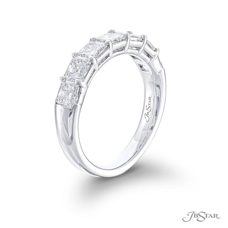 Beautiful diamond wedding band featuring 7 perfectly matched radiant-cut diamonds in a shared prong setting. Handcrafted in pure platinum. [details] Stone Information SHAPE TYPE WEIGHT Radiant Diamond 1.96 ctw. [enddetails] | JB Star 7237-012 Anniversary & Wedding