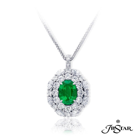 Stunning pendant featuring a 1.98 ct. oval emerald center encircled with 2 rows of round and marquise diamonds. Handcrafted in pure platinum. [details] Center Stone(s) SHAPE TYPE WEIGHT Oval Emerald 1.98 ct. Stone Information SHAPE TYPE WEIGHT Round Marquise Diamond Diamond 1.50 ctw. 0.76 ctw. [enddetails] | JB Star 7239-002 Pendants