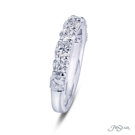 Gorgeous wedding band featuring radiant-cut and round diamonds in an alternating setting. Handcrafted in pure platinum. [details] Stone Information SHAPE TYPE WEIGHT Round Diamond 0.60 ctw. Radiant Diamond 0.96 ctw. [enddetails] | JB Star 7247-015 Anniversary & Wedding