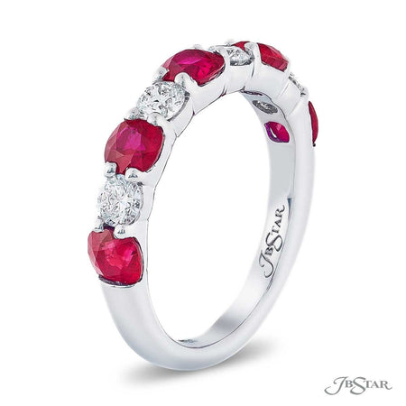 Beautiful ruby and diamond band featuring cushion-cut rubies and round diamonds in an alternating design. Handcrafted in pure platinum. [details] Stone Information SHAPE TYPE WEIGHT Cushion Ruby 1.73 ctw. Round Diamond 0.55 ctw. [enddetails] | JB Star 7247-028 Anniversary & Wedding