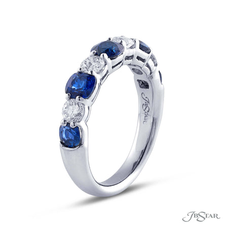Gorgeous sapphire and diamond band featuring 5 round sapphires and 4 round diamonds in an alternating shared prong design. [details] Stone Information SHAPE TYPE WEIGHT Round Round Sapphire Diamond 1.50 ctw. 0.50 ctw. [enddetails] | JB Star 7254-012 Anniversary & Wedding
