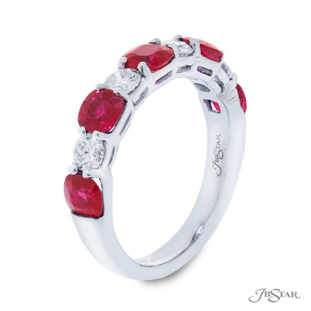Stunning ruby and diamond wedding band featuring cushion-cut rubies and round diamonds in an alternating design. Handcrafted in pure platinum. [details] Stone Information SHAPE TYPE WEIGHT Cushion Round Ruby Diamond 1.74 ctw. 0.53 ctw. [enddetails] | JB Star 7254-015 Anniversary & Wedding