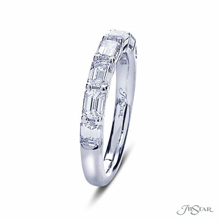 Dazzling diamond wedding band featuring emerald cut and radiant cut diamonds in an alternating shared prong design. [details] Stone Information SHAPE TYPE WEIGHT Emerald Radiant Diamond Diamond 0.60 ctw. 0.52 ctw. [enddetails] | JB Star 7257-009 Anniversary & Wedding