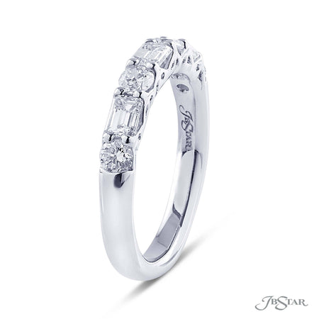 Dazzling diamond wedding band featuring emerald cut and round diamonds in an alternating shared prong design. [details] Stone Information SHAPE TYPE WEIGHT Emerald Round Diamond Diamond 0.60 ctw. 0.47 ctw. [enddetails] | JB Star 7257-031 Anniversary & Wedding