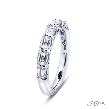 Gorgeous diamond wedding band in our east to west design with 7 perfectly matched emerald cut diamonds. Handcrafted in pure platinum. [details] Stone Information SHAPE TYPE WEIGHT Emerald Diamond 1.60 ctw. [enddetails] | JB Star 7258-011 Anniversary & Wedding