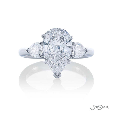 Platinum 2.33 ct Pear Shaped Diamond Engagement Ring with pear side diamonds 7264-022