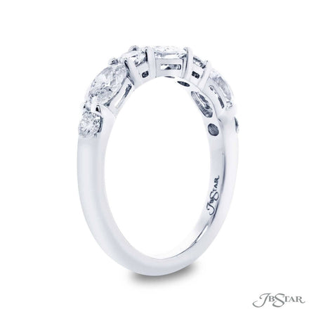 Beautiful diamond wedding band handcrafted with 3 oval diamonds and 4 round diamonds in an alternating design. Handcrafted in a shared prong and pure platinum setting. [details] Stone Information SHAPE TYPE WEIGHT Oval Round Diamond Diamond 0.61 ctw. 0.43 ctw. [enddetails] | JB Star 7265-001 Anniversary & Wedding