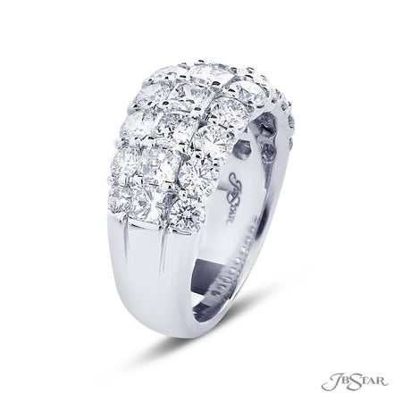 Dazzling diamond wedding band featuring a center row of radiant cut diamonds between two rows of round diamonds. Handcrafted in pure platinum. [details] Stone Information SHAPE TYPE WEIGHT Radiant Diamond 2.00 ctw. Round Diamond 1.82 ctw. [enddetails] | JB Star 7270-011 Anniversary & Wedding