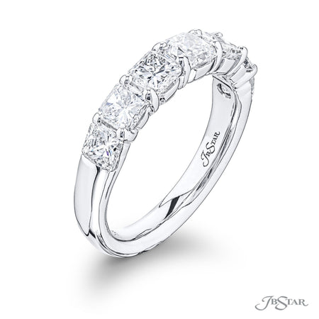 Radiant Cut Diamond Wedding Band 2.25 ctw. Shared Prong Side View