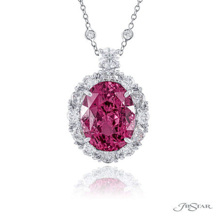 Dazzling pink spinel and diamond pendant featuring a 7.55 ct. certified oval pink spinel center embraced by half-moon and round diamonds. Handcrafted in pure platinum. [details] Center Stone(s) SHAPE TYPE WEIGHT Oval Sapphire 7.05 ct. Stone Information SHAPE TYPE WEIGHT Half Moon Round Diamond Diamond 0.66 ctw. 0.68 ctw. [enddetails] | JB Star 7284-003 Pendants