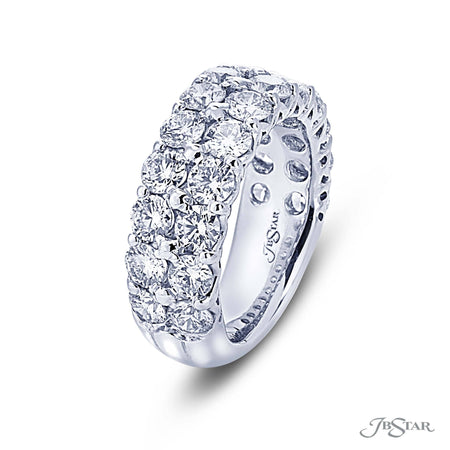 Gorgeous diamond wedding band featuring 2 row of round diamonds in a shared prong setting. Handcrafted in pure platinum. [details] Stone Information SHAPE TYPE WEIGHT Round Diamond 3.20 ctw. [enddetails] | JB Star 7287-001 Anniversary & Wedding