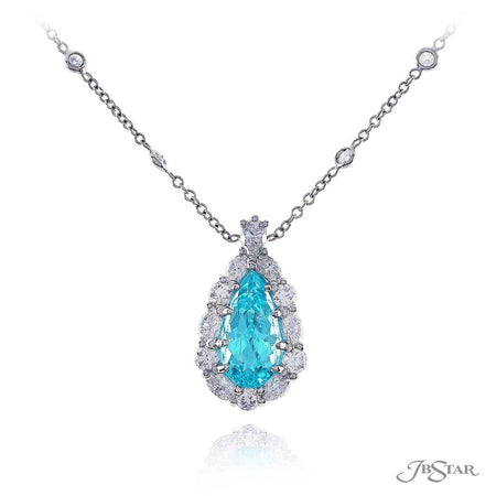 Paraiba and diamond pendant featuring a beautiful 2.07 ct pear shape paraiba, encircled by marquise and round diamonds. Handcrafted in a pure platinum setting. [details] Center Stone(s) SHAPE TYPE WEIGHT Pear Paraiba 2.07 ct. Stone Information SHAPE TYPE WEIGHT Marquise Round Pear Diamond Diamond Diamond 0.54 ctw. 0.39 ctw. 0.17 ctw. [enddetails] | JB Star 7290-002 Pendants