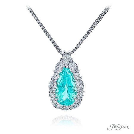 Stunning paraiba and diamond pendant featuring a 2.04 ct. certified pear shaped paraiba encircled by marquise and round diamonds and hung my a pear shaped diamond. Handcrafted in pure platinum. [details] Center Stone(s) SHAPE TYPE WEIGHT Pear Paraiba 2.04 ct. Stone Information SHAPE TYPE WEIGHT Marquise Round Pear Diamond Diamond Diamond 0.54 ctw. 0.37 ctw. 0.17 ctw. [enddetails] | JB Star 7290-005 Pendants