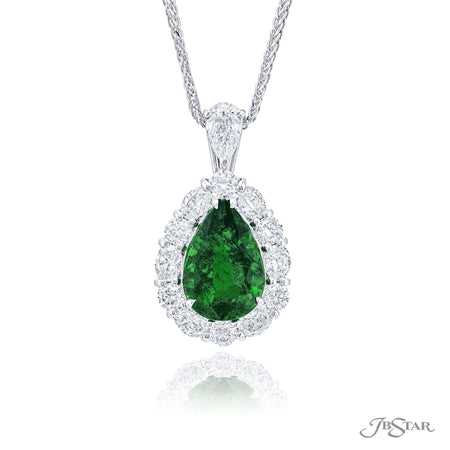 Dazzling emerald and diamond pendant featuring a 2.55 ct. pear-shaped emerald encircled by oval and round diamonds hung by a pear diamond. Handcrafted in pure platinum. [details] Center Stone(s) SHAPE TYPE WEIGHT Pear Emerald 2.55 ct. Stone Information SHAPE TYPE WEIGHT Oval Round Pear Diamond Diamond Diamond 0.67 ctw. 0.50 ctw. 0.31 ctw. [enddetails] | JB Star 7290-008 Pendants