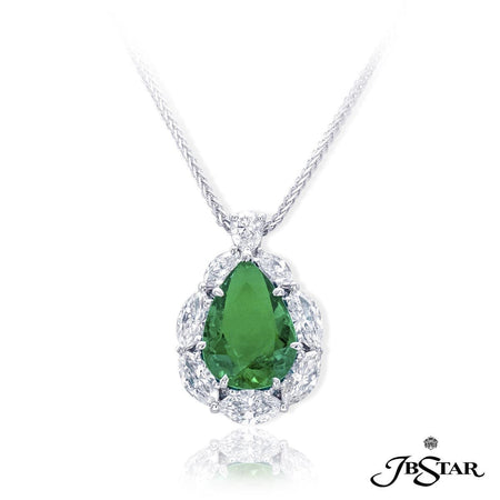 Gorgeous emerald and diamond pendant featuring a beautiful 4.01 ct. pear shape Columbian emerald encircled by marquise diamonds. Handcrafted in pure platinum. [details] Center Stone(s) SHAPE TYPE WEIGHT Pear Emerald 4.01 ct. Stone Information SHAPE TYPE WEIGHT Marquise Pear Diamond Diamond 1.60 ctw. 0.23 ctw. [enddetails] | JB Star 7292-001 Pendants