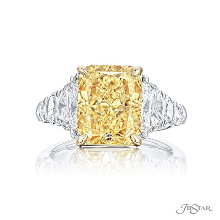 Spectacular fancy yellow diamond ring featuring a 5.05 ct. GIA certified radiant-cut fancy yellow diamond center embraced by half-moon and shield diamonds in a prong setting. Handcrafted in platinum and 18KY gold. [details] Center Stone(s) SHAPE TYPE WEIGHT CLARITY Radiant Diamond 5.05 ct. VVS2 Notes: GIA Stone Information SHAPE TYPE WEIGHT Half Moon Shield Diamond Diamond 1.85 ctw. 0.37 ctw. [enddetails] | JB Star 7297-008 Diamond Centers & Engagement