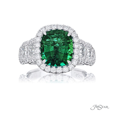 Gorgeous emerald and diamond ring featuring a 3.72 ct. cushion-cut emerald center embraced by cushion-cut diamonds in a micro pave setting. Handcrafted in pure platinum. [details] Center Stone(s) SHAPE TYPE WEIGHT Cushion Emerald 3.72 ct. Stone Information SHAPE TYPE WEIGHT Cushion Round Diamond Diamond 1.93 ctw. 0.80 ctw. [enddetails] | JB Star 7301-001 Precious Color Rings