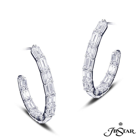 Stunning diamond platinum hoop earrings handcrafted with 20 perfectly matched emerald-cut diamonds in shared-prong setting. [details] Center Stone(s) SHAPE TYPE WEIGHT Emerald Cut Diamond 3.67 ct. [enddetails] | JB Star 7302-001 Earrings