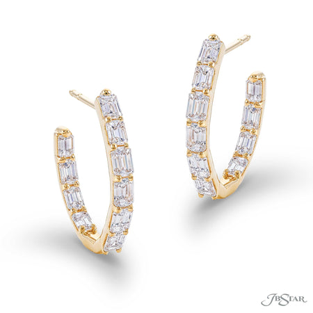 Stunning diamond platinum hoop earrings handcrafted with 20 perfectly matched emerald-cut diamonds in shared-prong setting. Handcrafted in 18KY gold. [details] Center Stone(s) SHAPE TYPE WEIGHT Emerald Diamond 3.22 ctw. [enddetails] | JB Star 7302-002 Earrings